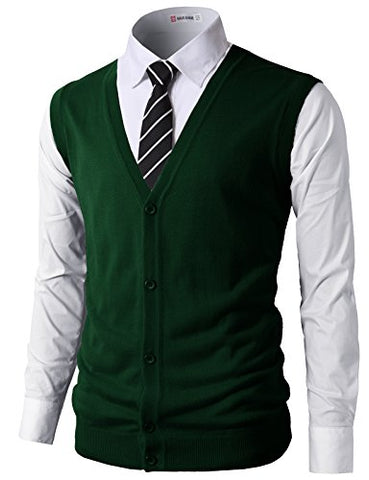 H2H Mens Casual Slim Fit Knitted V-Neck Button-Down Basic Colors Vests DARKGREEN US M/Asia L (CMOV038)