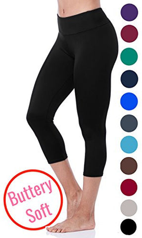 Lush Moda Extra Soft Capri Leggings - Variety of Colors - Yoga Waist - Black