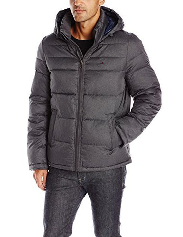 Tommy Hilfiger Men's Ultra Loft Insulated Midlength Quilted Puffer Jacket with Fixed Hood, Heather Charcoal, L