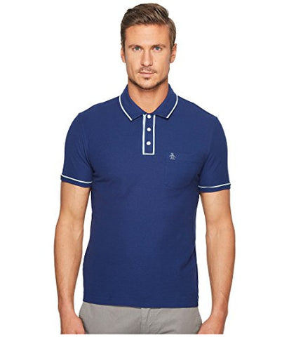 Original Penguin Men's Short Sleeve Earl Polo, Blue Depths, Large