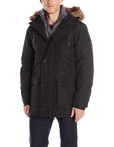English Laundry Men's Long Parka with Bib, Black, Large