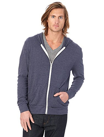 Alternative Men's Eco Zip Hoodie Sweatshirt Shirt, Eco True Navy, Large