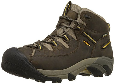 KEEN Men's Targhee II Mid WP Hiking Boot,Black Olive/Yellow,9 M US