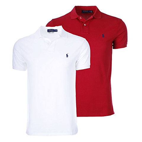 Polo Ralph Lauren Men's Polo Shirt Custom Fit Bundle (2pk) (Medium, White/Red)