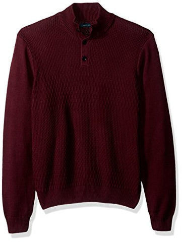 Perry Ellis Men's Solid Textured Mock Neck Sweater, Port, Medium