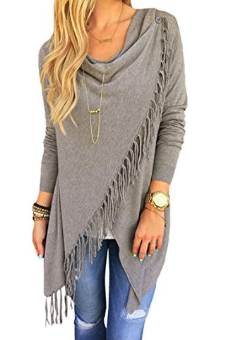Viottis Women's Tassel Hemn Open Front Blouse Coat Outwear Top 1-Gray XL