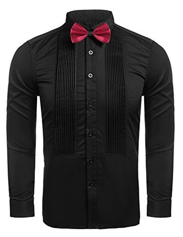Hasuit Men's Formal Shirts Tuxedo Shirts With French Cuffs And Bow Tie