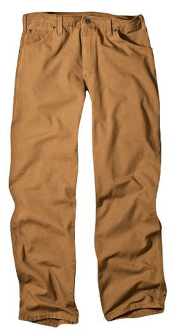 Dickies Men's Relaxed Fit Duck Carpenter Jean, Brown Duck, 38x32