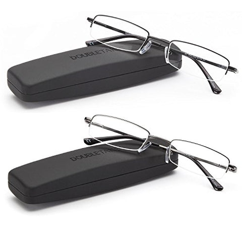DOUBLETAKE: 2 Pairs of Classic Spring Hinged Half Rim Reading Glass with Slim Hard Case for Men and Women