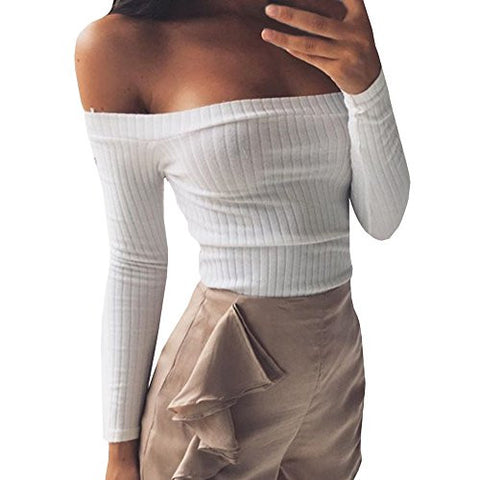 Gobought Womens Slim Off Shoulder Long Sleeve Rib-Knit Crop Pullover Tops (M, White)