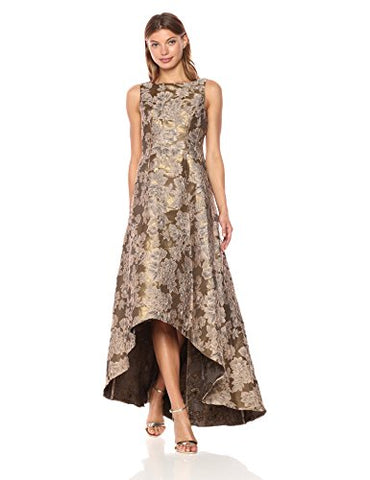 Adrianna Papell Women's Hi Low Jacquard Gown with Boat Neckline, Antique/Gold, 4