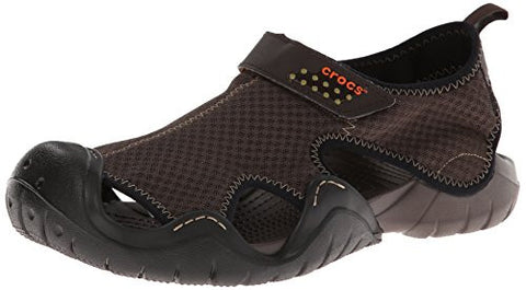 crocs Men's Swiftwater Sandal,Espresso/Espresso,12 M US