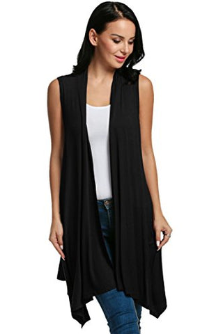 Beyove Women's Asymetric Hem Sleeveless Open Front Drape Cardigan Sweater Vest Black L