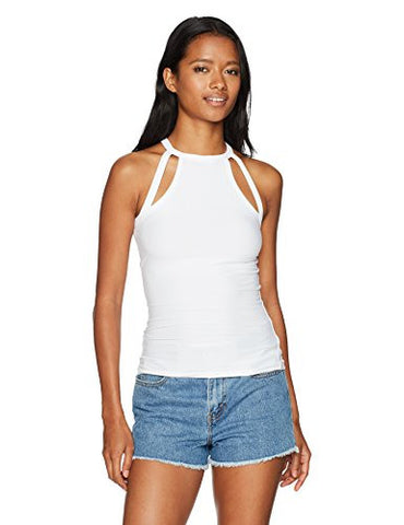 Derek Heart Women's High Neck Bodycon Tank with Shoulder Cutouts, White, L