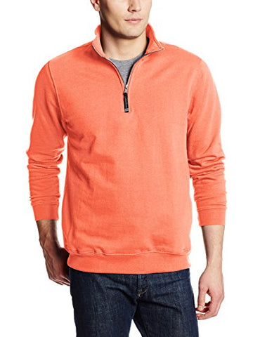 Charles River Apparel Men's Crosswind Quarter Zip Sweatshirt, Bright Coral, X-Large