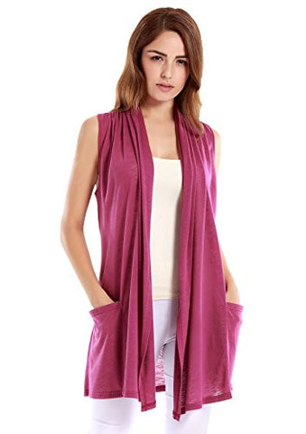 VESSOS Women Vests Sleeveless Open Front Shawl Collar ShrugJersey Vest Cardigan Cover Up XL Purple