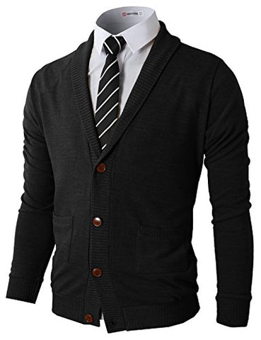 H2H Mens Fashion Slim Fit Open Front Long Sleeve Shawl Collar Pullover Cardigan BLACK US XL/Asia XXL (CMOCAL07)