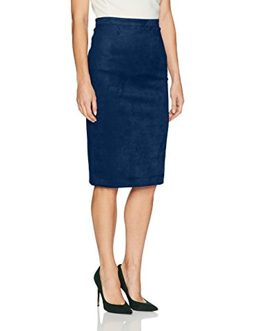 BCBGMAXAZRIA Women's Alpine Faux Suede Knit Pencil Skirt, Blue Depths, M