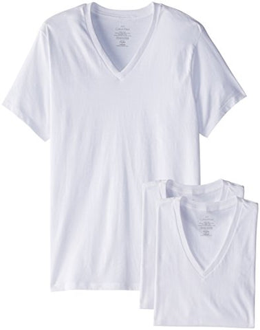 Calvin Klein Men's Undershirts Cotton Multipack V Neck Tshirts, White, Large