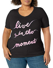 JUST MY SIZE Women's Size Plus Printed Short-Sleeve V-Neck T-Shirt, Live in The Moment/Black, 4X