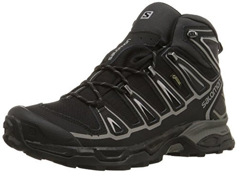 Salomon Men's X Ultra Mid 2 GTX Multifunctional Hiking Boot, Black/Black/Aluminum, 10 M US