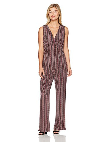 BCBGeneration Women's Deep V Jumpsuit, Black Pumice Combo, Medium