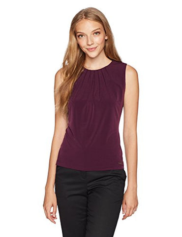 Calvin Klein Women's Solid Pleat Neck Cami, Aub, Petite Medium
