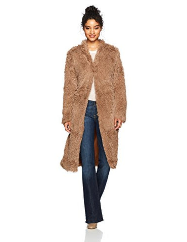 Angie Women's Long Furry Coat, Caramel, Small