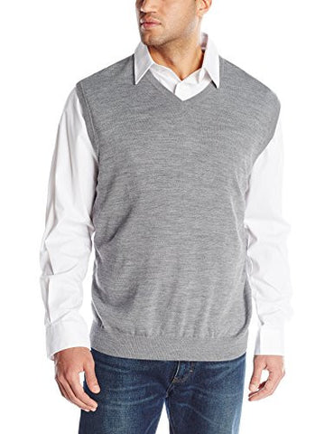 Cutter & Buck Men's Big-Tall Douglas V-Neck Sweater Vest, Medium Grey Heather, 4X/Tall