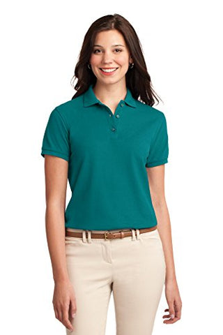 Port Authority Women's Silk Touch Polo M Teal Green