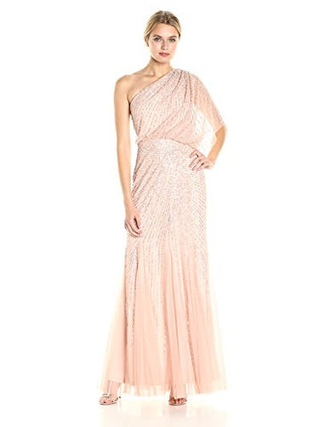 Adrianna Papell Women's One Shoulder Sequin Beaded Blouson Gown, Blush, 8