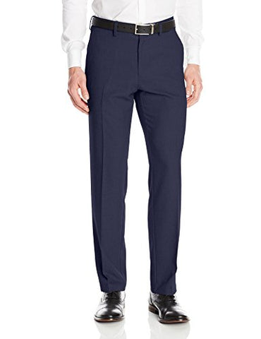 Kenneth Cole Reaction Men's Heather Stretch Modern Fit Flat Front Pant, Navy, 34x32