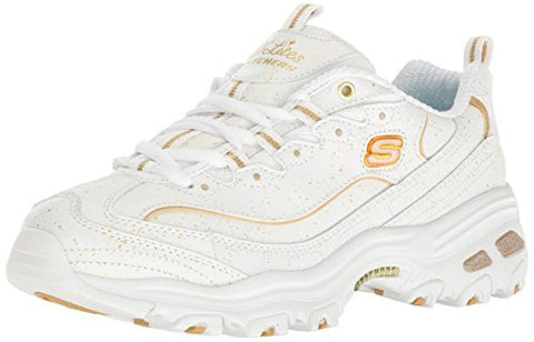 Skechers Sport Women's D'Lites Strike Gold Fashion Sneaker, White/Gold, 9 M US