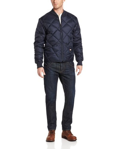 Dickies Men's Water Resistant Diamond Quilted Nylon Jacket, Dark Navy, Medium