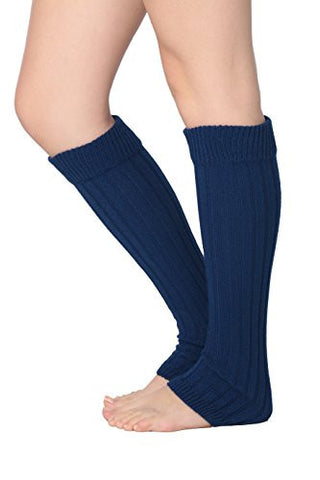 Isadora Paccini Women's Ribbed Knit Leg Warmers, One Size, LW15, blue