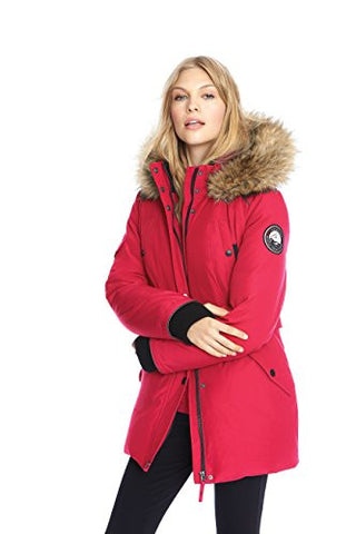 Alpinetek Women's Down Mid Length Parka Coat (Large, Crimson)