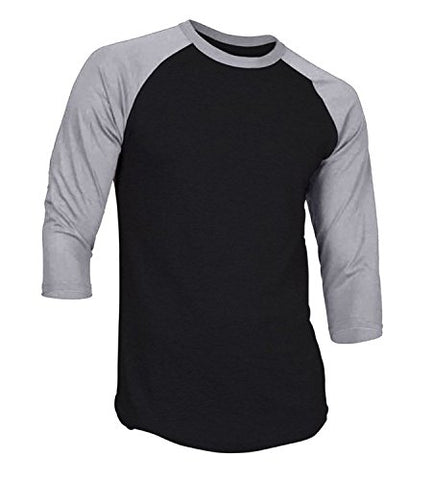 Dream USA Men's Casual 3/4 Sleeve Baseball Tshirt Raglan Jersey Shirt Black/H Gray Large