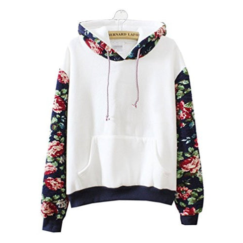 Cute Hoodies Sweater Pullover Warm Fleece Lined Flowers Sleeve White Large