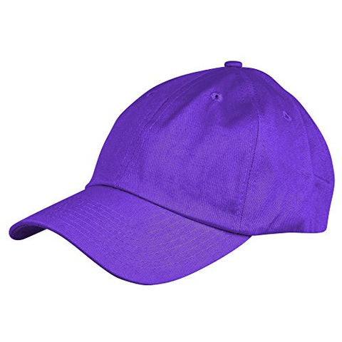 Dalix Unisex Unstructured Cotton Cap Adjustable Plain Hat, Purple