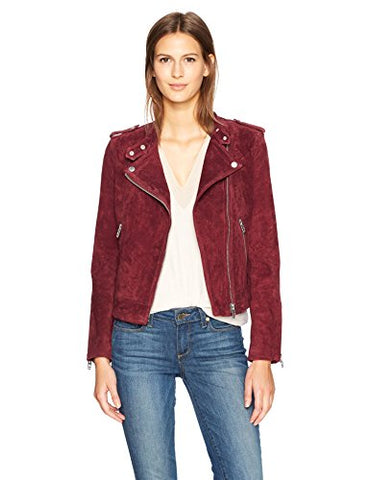 [blanknyc] Women's Collarless Moto, ruby, Small