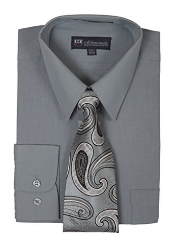 Milano Moda Men's Long Sleeve Dress Shirt With Matching Tie And Handkie SG21A-Charcoal-16-16 1/2-34-35