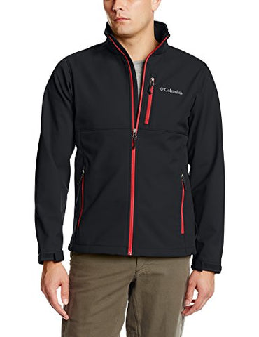 Columbia Men's Ascender Softshell Jacket, Black/Mountain Red, Large