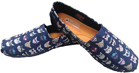 BOBS from Skechers Women's Plush - Kitty Flat, Navy Kitty , 8 M US