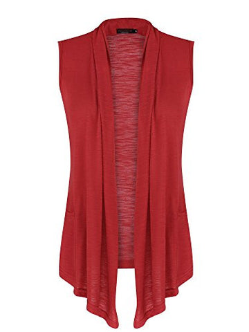 VESSOS Women's Pockets Solid Color Sleeveless Asymetric Hem Open Front Vest Cardigan (XXL, Red)