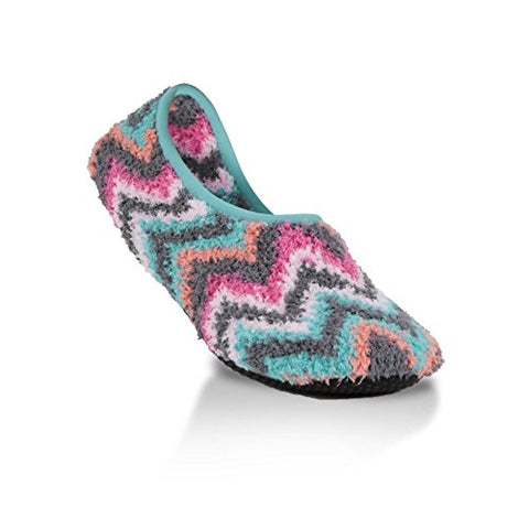 Super Soft Cozy Slippers with Slip-Resistant Bottom Sole (Medium (Womens 7.5-9), Charcoal Fuschia Chevron)