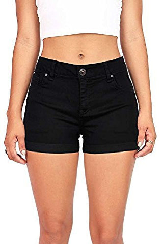 Wax Women's Juniors Perfect Fit Mid-Rise Denim Shorts Black Large