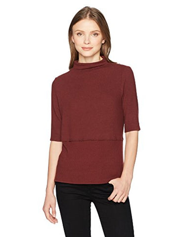 Michael Stars Women's Madison Brushed Jersey Mock Neck Elbow Sleeve Top, Bourbon, XS