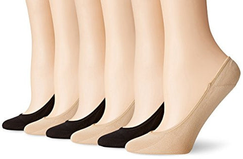 PEDS Women's Microfiber Ultra Low Cut Liner with Gel Tab (Pack of 6), Black/Nude, Shoe Size 5-10