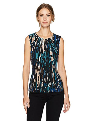 Calvin Klein Women's Matte Jersey Sleevless Printed Pleat Neck Cami, Reg/Multi, M