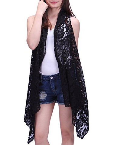 HDE Womens Open Front Lace Cardigan Sleeveless Asymmetric Drape Hem Vest Coverup (Black)